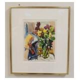 1030NELL BLAINE SIGNED PAINTING, WATERCOLOR ON PAPER TITLED *STILL LIFE AND FLOWERS IN GLASS*, 1958