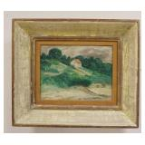 1035FRENCH OIL PAINTING ON BOARD, COUNTRYSIDE SCENE, UNSIGNED & FRAMED, IMAGE SIZE 13 1/4 IN X 10 1