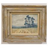 1037OIL PAINTING ON CANVAS LANDSCAPE IRISH PINES SIGNED KAUFMANN 72 LOWER RIGHT, IMAGE SIZE 11 1/2