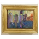 1039EMILY MASON OIL PAINTING ON BOARD TITLED *RIVER BANK* SIGNED ON REVERSE W/GALLERY LABEL DAVID F