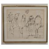 1047LARGE PRINT OF FRENCH WAITERS, SIGNED AND NUMBERED IN UPPER RIGHT. IMAGE SIZE 23 1/2 IN X 18 1/