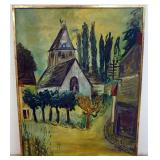 1050LUDWIG BEMELMANS LARGE OIL PAINTING ON CANVAS, VILLAGE WITH CHURCH. SIGNED LOWER RIGHT CORNER,