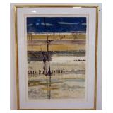 1058RENE GENIS LITHOGRAPH SIGNED AND NUMBERED.TITLED *LA PLAGE ARCHACHON MAREE BASSE*. GALLERY TAG