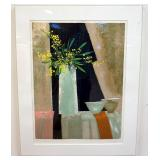 1059RENE GENIS LITHOGRAPH SIGNED AND NUMBERED.TITLED *MIMOSA ET DUEX BOLS*. GALLERY TAG ON REVERSE,