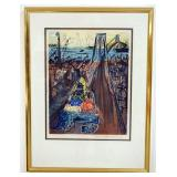 1060LUDWIG BEMELMANS SIGNED LITHOGRAPH, TITLED *BROOKLYN BRIDGE*. IMAGE SIZE 17 IN X 22 IN., OVERAL
