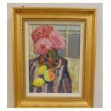 1062DUOLING HE OIL PAINTING ON CANVAS, STILL LIFE. IMAGE SIZE 8 1/2 IN X 11 1/2 IN., OVERALL DIMENS