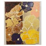 1069ROBERT KUSHNER PAINTING ON BOARD, TITLED *PANSIES III*. GALLERY TAG ON REVERSE, D C MOORE GALLE
