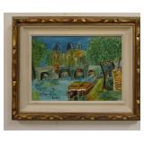 1074I. ALLIMANN OIL PAINTING ON BOARD, SIGNED AND DATED 1965. IMAGE SIZE 11 IN X 8 IN., OVERALL DIM