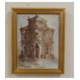 1081OIL PAINTING ON CANVAS SIGNED BAIK, TITLED *CHIESA DI S. MEISE* DATED 62. OVERALL DIMESNSIONS 7