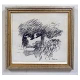 1084FRAMED DRAWING SIGNED RM. IMAGE SIZE 10 1/4 IN X 9 1/2 IN., OVERALL DIMENSIONS 13 1/4 IN X 12 1
