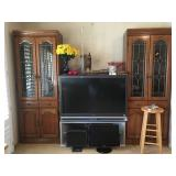 (2) Bookcase/Display Cabinets / Sanyo TV