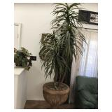 Large Faux Plant in Cement Pot