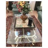Metal Coffee table w/glass Top