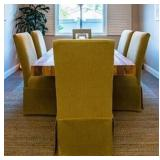 6 Green Upholstered chairs