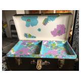 Inside vintage trunk