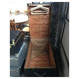inside vintage wardrobe trunk