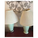 (2) Green Table Lamps