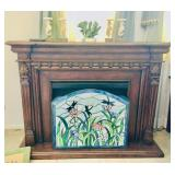 Portable Electric Fireplace / Stained Glass Screen