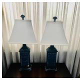 (2) Blue Seashell Lamps