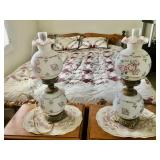 (2) Handpainted Fenton Lamps
