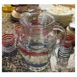 Vintage Red/White/Blue Pitcher & Glasses