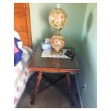 Antique Table / Painted Hurricane Lamp