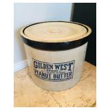 Large Golden West Brand Peanut Butter Crock