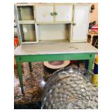 Antique Metal  Hoosier Cabinet - Doll Sized