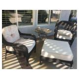 (4) Wicker Patio Chairs w/ Large Ottoman