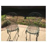 (2) Green Metal Chairs