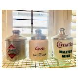 Coors Porcelain Malted Milk Crock - Carnation Porcelain Malted Milk Crock - Borden Metal Malted Milk