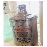 Golden State Metal Malted Milk Cannister