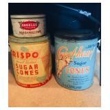 Vintage Sugar Cone Tins