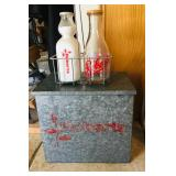 Roberts Milk Bottles / Metal Cooler
