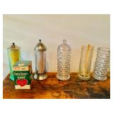 Antique Soda Fountain Straw Dispensers / Apothecary Jars