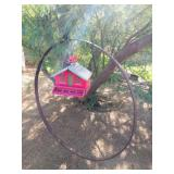 Vintage Birdhouse Wagon Wheel Display