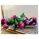 Vintage Wood Tray w/Flowers