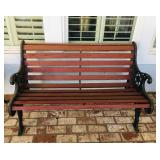 Red Outdoor Bench