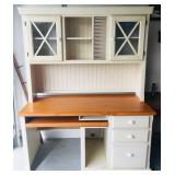 Beige Office Desk w/ Bookshelf