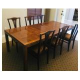 Dining room table with leaf inserted