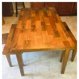 Farmhouse style table and two benches