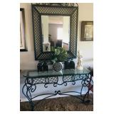 Wrought iron console table with beveled glass