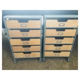 World Market metal storage cabinet with wood drawers