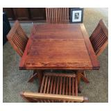 Vintage Table with two folding leaves / (4) wooden folding chairs