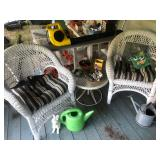 Wicker Chairs, Side Table, Gardening Odds and Ends