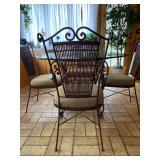 "Bassett Furniture Wrought Iron Glass Top Table w/4 Chairs - $250 Set - Diameter 47.5"" x 30"" H."