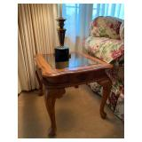 """Master Home Furniture Co. Carved Wood w/Beveled Glass Insert End Table x 2 - $40 each - 22"""" Wide x 2"""