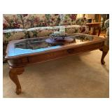 """Master Home Furniture Co. Carved Wood w/Beveled Glass Inserts Coffee table - $75 - 28"""" Wide x 49"""" Lo"""