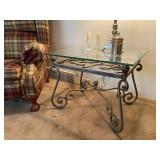 """Wrought Iron Bevelled Glass Table - $90 - 30"""" Wide x 24"""" Deep x 23"""" High"""