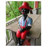 vintage fishing boy garden statue